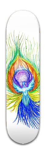 Epic rainbow fire feather Banger Park Skateboard 8 x 31 3/4