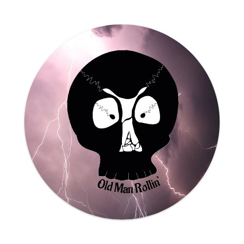 Old Man Skull Sticker 4 x 4 Circle