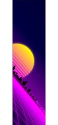 80's retro sunset synthwave Custom Skateboard Griptape 9x34 in.