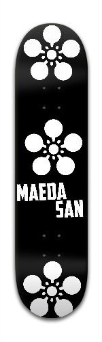 the MAEDA SAN - Black with White lo Banger Park Skateboard 7 7/8 x 31 5/8