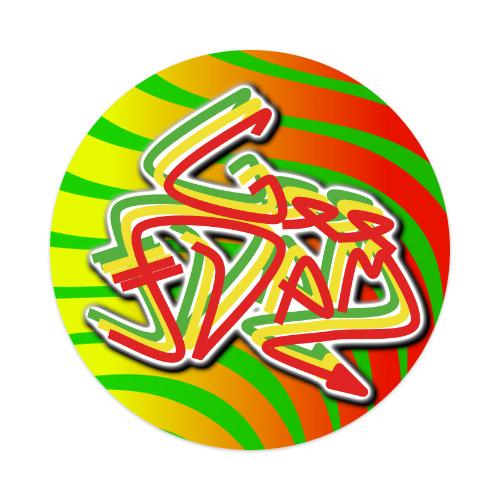 GEE-DAM Rasta Stick Sticker 4 x 4 Circle