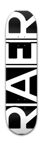 RAER logo black and white Banger Park Skateboard 8 x 31 3/4