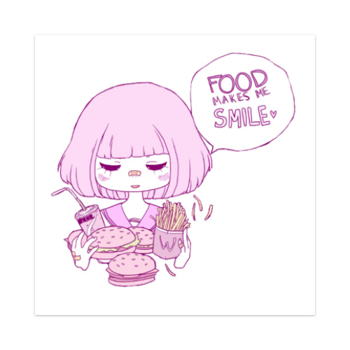 Food makes me smile Sticker 4 x 4 Square