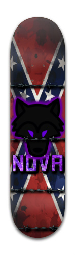 Black Wolf and Confederate Flag Banger Park Skateboard 8 x 31 3/4