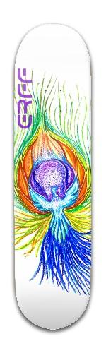 Epic rainbow fire feather ERFF Banger Park Skateboard 8 x 31 3/4
