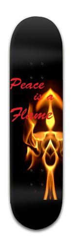"""peace is a flame"" Banger Park Skateboard 8 x 31 3/4"