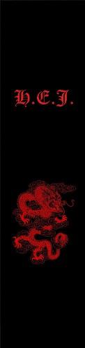 Red dragon HEJ Initials design Custom longboard griptape