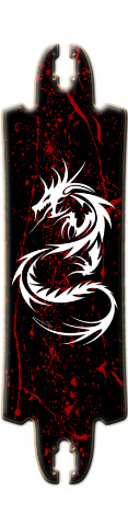 Tribal Dragon/ Blood Splater FUBAR Drop Skateboard Deck