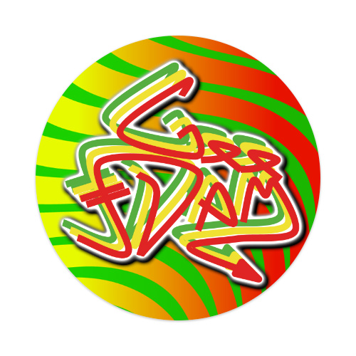 GEE-DAM Rasta Stick Sticker 4 x 4 Circle