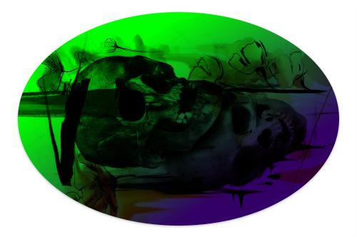 Skulls Sticker 6 x 4 Oval