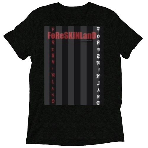 foreskinland striped Custom Tri Blend-T Shirt (Vintage Black)
